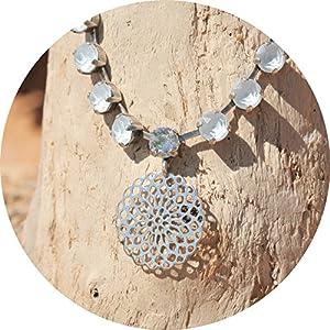 artjany Collier mandala swarovski kristalle powder blue silber