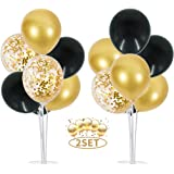 2 Set Table Balloons Stand Kit Ballon Column Stand Balloons Tree Include 16Pcs Black Gold Latex Confetti Balloons for Birthda