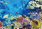 Yongfoto 1.5x 1m fondale Undersea World Ocean Underwater Fish coral Blue Sea Aquarium fondali per fotografia interior TV parete decorazione vinile foto sfondo ragazzi bambini ritratti studio puntelli