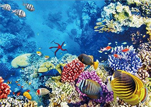 YongFoto 3x2m Zimmerdekorations-Welt Hintergrund Ocean Unterwasser Fische Coral Blue Sea Aquarium Hintergründe die Fotografie Innen TV Wand Dekoration Foto Hintergrund Jungen Kinder Portraits Studio