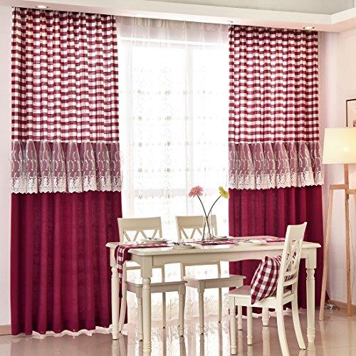 Preisvergleich Produktbild Hoomall Küche Gardinen Ösenvorhang Baumwolle Vorhang für Schlafzimmer Kinderzimmer Ösenschal B*H 140*175cm 1er set Rot