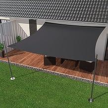 IBIZSAIL Premium Sonnensegel - Viereck (quadratisch) - 350 x 350 cm - ANTHRAZIT - wasserabweisend (inkl. Spannseilen)