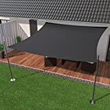 IBIZSAIL Premium Sonnensegel - Viereck (quadratisch) - 300 x 300 cm - ANTHRAZIT - wasserabweisend (inkl. Spannseilen)
