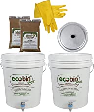 MyEcoBin Easy Indoor Home Compost Bin for Converting Organic Kitchen Waste Into Compost, 10L - Set of 2 (White)