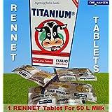 5 x tabletas para cuajo de titanio® para cualquier tipo de queso. 5 tabletas para 250ml de leche.