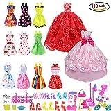 Xiton Zubehör für Barbie, Kleid Zubehör für Barbie-Puppen, 10pcs Sommer Röcke Kleider + 2 PC Hochzeitskleid +98 Barbie-Zubehör