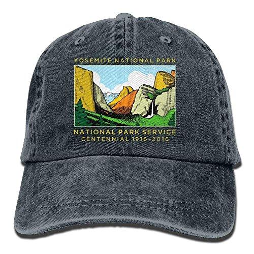 Yutirewer Yosemite National Park Unisex Denim Baseball Cap Adjustable Strap Low Profile Plain Hats Outdoor Casquette Adjustable Sunbonnet Black -