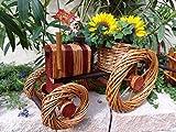 Traktor mit Korb, XL 50 cm, aus Korbgeflecht, Rattan, Weinkörbe, Weidenkorb, Pflanzkorb, Blumentopf, Blumentöpfe, Holzschubkarre, Pflanztrog, Pflanzgefäß, Pflanzschale, Blumentopf, Pflanzkasten, Übertopf, Übertöpfe , Pflanztrog, Pflanztopf groß hell natur unbehandelt für Gartenhaus, Blumentopf, Holz, Haus und Eingang, Gartendeko, Dekoration Pflanzgefäß, Pflanztöpfe Pflanzkübel