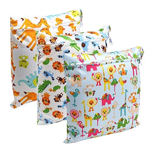 LEADSTAR 3 Stück Windeltasche Wickeltasche Wetbag Nasstaschen wiederverwendbare Feuchttücher Organiser Beutel mit Reißverschluss für Baby Kleinkind
