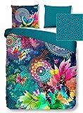 HIP Wende-Bettwäsche PARADA 5104 Doubleface Reine Baumwolle exotisches Muster Mandalas Ornamente Schmetterlinge 135x200 cm Gute Laune Farben bunt