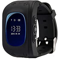 REES52 GPS Tracker Watch Children SOS Smart Watch,Support Micro SIM and Voice Chatting,Remote Monitoring,Call Location Device Tracker for Kid Safe Anti-Lost Monitor(Black)