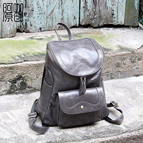 Loisirs en cuir d'origine de la couche d'en-tête double sacs à bandoulière en cuir sacs à bandoulière femmes Elegant grey
