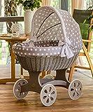 ComfortBaby ® HOME XXL Baby Stubenwagen - komplette 'all inclusive' Ausstattung - Zertifiziert & Sicher (Grau – GrauMitWeissenKreisen)