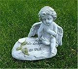 Trauerengel Grabschmuck sitzender Engel *Wir denken an Dich* grau-beige-antik, B 17 cm