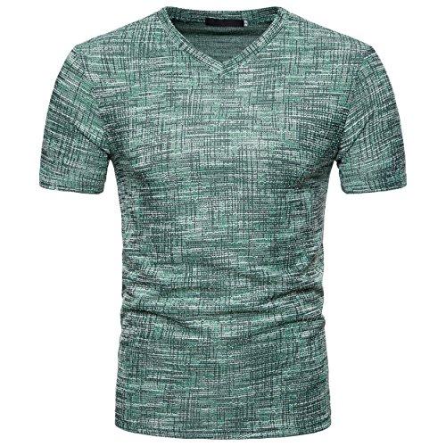 Showu t-shirt uomo a maniche corte con scollo a v sciolto t-shirts (verde, l)
