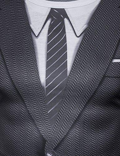 YCHENG Männer Anzug Mode 3D Druck Muster Slim Fit Langarm Rundhalsausschnitt T-Shirt Tops 1102L-J