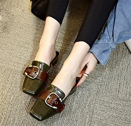 Baotou Pantoffel Gürtelschnalle dick mit niedrigeren Frauen Sandalen und Pantoffeln Frau Dark Green