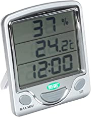 Vee Gee Scientific Maximum And Minimum Digital Dual-Scale Thermometer, With Hygrometer And Clock, 0 To 50 Degree C And 32 To 122 Degree F