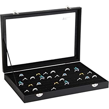 Amzdeal Présentoir bagues avec Couvercle en verre, Coffret et Boîte à Bijoux pour 100 bagues , Plateau pour bagues avec Vitre