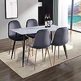 GOLDFAN Tables de Salle à Manger et 4 Chaise Rectangulaire Marbre Table de Cuisine en Verre et 4 Chaise pour Cuisine Salon Bu