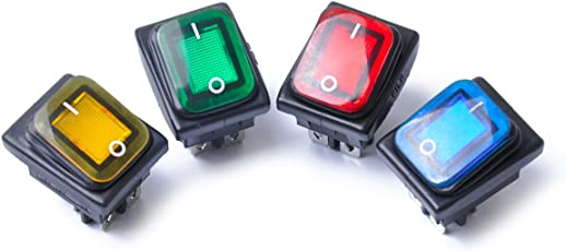 4pcs 4 Pin Rocker Toggle Switch On-Off-On Car Boat Truck Switches with LED Light