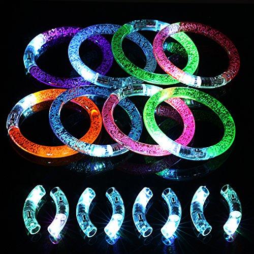 and Set, 8 Leuchtarmbänder Blinkende Armreif Leuchtband für Weihnachten Geburtstag Party Disco Konzert Kinder Spielzeug mit 8er Ersatzleucht ()