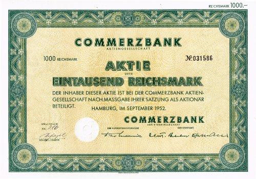 Altaktie Commerzbank AG, 1000 RM, September 1952