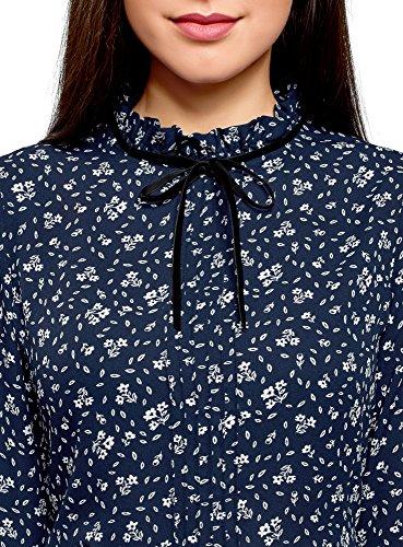 oodji Ultra Damen Bluse mit Dekorativer Schleife und Rüschen Am Kragen Blau (7930F)