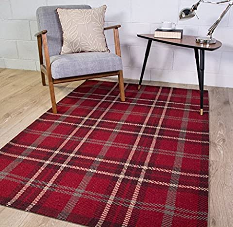 Harris Red Tartan Checked Pattern 100% Wool Living Room Area Rug 120cm x 170cm