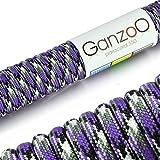 Paracord 550 Seil Violett | Weiß | Schwarz | 31 Meter Nylon-Seil mit 7 Kern-Stränge | für Armband | Knüpfen von Hunde-Leine oder Hunde-Halsband zum selber machen | Seil mit 4mm Stärke | Mehrzweck-Seil | Survival-Seil | Parachute Cord belastbar bis 250kg (550lbs) - Marke Ganzoo