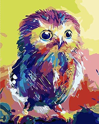 TianMai Version 3.0 HD Malen nach Zahlen Kits für Erwachsene Kinder 3-dimensional PBN Malerarbeiten Digital DIY Ölgemälde Leinwand Kit Weihnachten Dekorationen Geschenke - Farbiger Vogel (Ohne Frame)