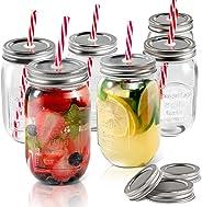 Mason Jars 6 PCS Regular Mouth Drinking Jars with Lids & Straws Send 3 Non-Pores Covers Kitchen Glass Mugs Masthome