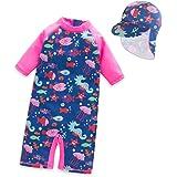 LiUiMiY Trajes de Baño Niña Una Pieza Bañador Protección Solar Anti-UV Ropa de Natación Conjunto de Bikini Bebé con Gorro de