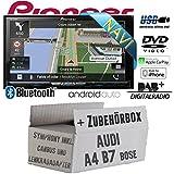Audi A4 B7 inkl. CanBus Lenkradfernbedienung Symphony Bose 2DIN - Autoradio Radio Pioneer AVIC-Z910DAB - Navigation | DAB+ | Bluetooth | DVD | HDMI | WiFi | Android Auto | Apple CarPlay Einbauzubehör - Einbauset