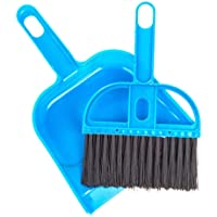 Pet Cage Broom Brush Dustpan Set - Small Cat Litter Sweeper for Pet Cage Clean and Car Keyboard Brush (Blue)