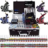 Solong Tattoo® Profi Komplett Tattoomaschine Set 4 Tattoo Maschine Guns 54 Farben/Inks Tinte Nadel Tattoo maschine Set Kit TK456