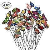 Seigle Living 40Pcs Papillon Jardin Piquets Creative Décorations de pelouse extérieure Accessoires Double Ailes