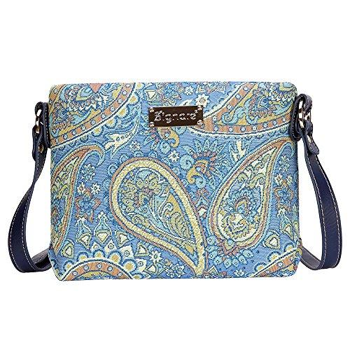 Modische Tapisserie Damen Schultertasche, Bodybag oder Messengertasche in Signare Blumen (Paisley) (Handbag Paisley Handtasche)