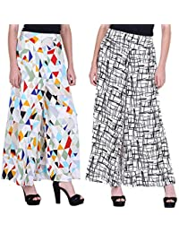 Shmayra Regular Fit Women's Multicolor Palazzo Pants Womens Inner & Pocket Trousers Combo (Pack of 2) Plazo Pants Girls/Womens