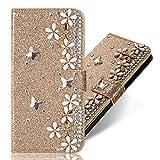 3D Butterfly Bling Glitter Glitzer Diamond Musterg Ledertasche Slim Retro Bookstyle mit Standfunktion Karteneinschub Magnetverschluss Flip Wallet Hülle Schutzhülle für Samsung Galaxy A6 2018