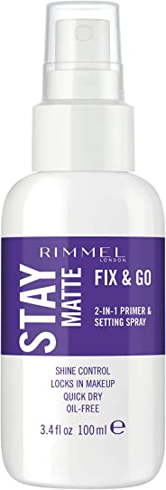 Rimmel Stay Matte Fix & Go 2-in-1 Primer & Setting Spray, Transparent (1 Count)