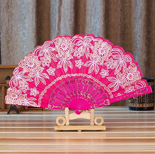 Kviklo Handfächer Faltseide Fächer Blätter Blumen Stoff Plastik Kostüm Party Hochzeit Chinesisch/Japanisch Fan Dekorationen(Fuchsie,23cm) -