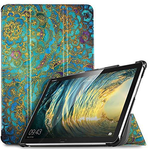 IVSO Hülle für Huawei MediaPad M5 Lite 10, Ultra Schlank Slim Schutzhülle Hochwertiges PU mit Standfunktion Perfekt Geeignet für Huawei MediaPad M5 Lite 10 10.1 Zoll 2018 Modell, Yellow Topaz