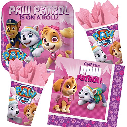 Paw Patrol 37-teiliges Partyset PINK * für Kindergeburtstag mit Teller + Becher + Servietten + Deko // Geburtstag Partygeschirr Dekoration Kinder Party Mottoparty Motto Fellfreunde Polizei Hund (Geburtstag Dekorationen Hund)
