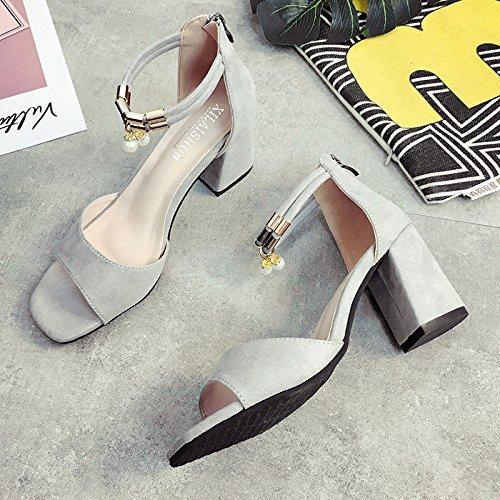 Lgk & fa estate sandali sandali tacco signora Xia alta-scarpa pesce bocca scarpe da donna Grey