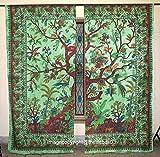 THE ART BOX Finestra Albero della Vita Indiano Finestra Tenda Verde Uccello Modello Finestra Tende Set di 2Tendine arazzo Appeso Balze per finestre, divisorio di