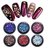 BONNIESTORE Nail Sequins 6 Boxes Chameleon AB Color Crystal Rhinestone Mixed size Flat