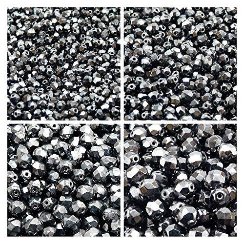 Tschechische Fire-Polished Glasperlen Rund 3mm, 4mm, 6mm, 8mm, Jet Hematite. Insgesamt 275 Stück. Set 1CFP 005 (3FP020 4FP020 6FP065 8FP020) -