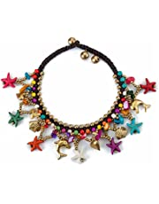 Yellow Chimes Bohemian Starfish Charms Beaded Bracelet Cum Anklet for Women and Girls