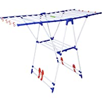 Flipzon Premium Winsome Modular Cloth Dryer Stand - Pre-Assembled, Foldable (Make in India), Blue & White